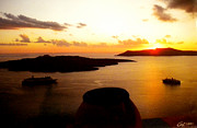 Greetingcard Posters - Late Sunset Santorini  Island Greece Poster by Colette V Hera  Guggenheim