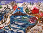 Visionary Artist Painting Prints - Late Winter Canal-Marys View Print by Mary Carol Williams