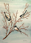 Pussy Mixed Media Framed Prints - Late Winter Chickadees Framed Print by Gina Gahagan