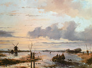 Wintry Painting Posters - Late Winter in Holland Poster by Nicholas Jan Roosenboom