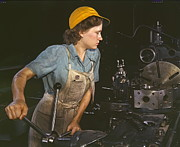 Machinists Posters - Lathe Operator 1942 Poster by Padre Art