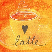Orange Mixed Media Posters - Latte Poster by Linda Woods