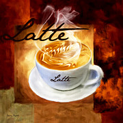 Kitchen Digital Art Posters - Latte Poster by Lourry Legarde