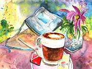 Greve In Chianti Drawings Posters - Latte Macchiato in Italy 01 Poster by Miki De Goodaboom
