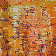 Metaphor Paintings - Lattice Animals Abstract Oil Painting by Regina Valluzzi by Regina Valluzzi
