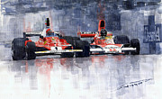 Watercolor Framed Prints - Lauda vs Hunt Long Beach US GP 1976  Framed Print by Yuriy Shevchuk
