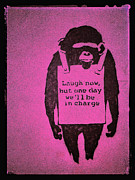 Chimpanzee Digital Art Framed Prints - Laugh Now Framed Print by Gia Marie Houck