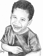 Little Boy Drawings Framed Prints - Laughing Boy Framed Print by Lew Davis