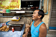 Laughing Posters - Laughing food seller in Bogyoke Aung San Market Poster by Ruben Vicente