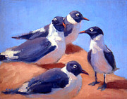 Sea Birds Paintings - Laughing Gulls by Neil Rizos