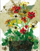 Handmade Paper Paintings - Laughing Poppies by Elaine Elliott