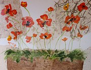 Handmade Paper Paintings - Laughing Poppies II by Elaine Elliott