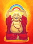 Happy Posters Pastels Metal Prints - Laughing Rainbow Buddha Metal Print by Sue Halstenberg