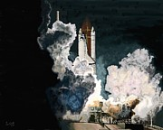 Space Ships Paintings - Launch in the Dark by Timothy Wall