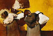 Action Art Posters - Laundresses Poster by Edgar Degas