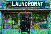 Businesses Digital Art Prints - Laundromat 20130731p180 Print by Wingsdomain Art and Photography