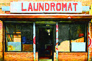 Mundane Digital Art Prints - Laundromat 20130731pop Print by Wingsdomain Art and Photography