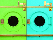 Laundrimat Posters - Laundromat Drying Machines Two 20130801b Poster by Wingsdomain Art and Photography