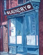 Laundromat Posters - Laundry Poster by Anthony Butera