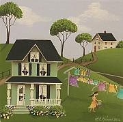 Country Cottage Prints - Laundry Day Print by Catherine Holman