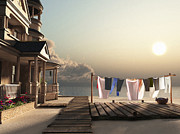 Rendering Digital Art - Laundry Day by Cynthia Decker