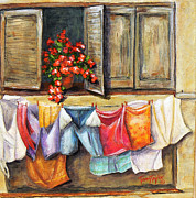 Villa Paintings - Laundry Day in the Villa by Terry Taylor