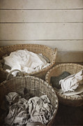 Wicker Baskets Prints - Laundry Day Print by Margie Hurwich