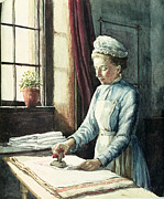 Interior Scene Painting Prints - Laundry Maid Print by English School