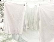 Pajamas Prints - Laundry on the Line in Pink and Green Print by Brooke Ryan