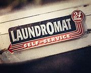 Laundromat Posters - Laundry Room Decor Vintage Laundromat Sign Poster by Lisa Russo