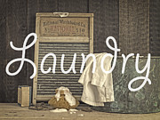 Laundry Framed Prints - Laundry Room Sign Framed Print by Edward Fielding