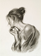 Sepia Chalk Drawings Prints - Laura in deep thought Print by John Silver
