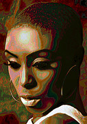 Tradigital Art Prints - Laura Mvula Print by Byron Fli Walker