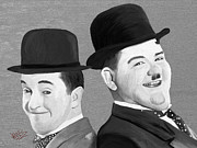 Movie Stars Painting Prints - Laurel and Hardy Print by James Shepherd