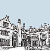 Presents Drawings Prints - Laurel Hall in light blue Print by Lee-Ann Adendorff
