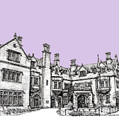 Mansion Drawings - Laurel Hall in lilac by Lee-Ann Adendorff