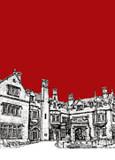 Wedding Venue Drawings Prints - Laurel Hall in red -portrait- Print by Lee-Ann Adendorff
