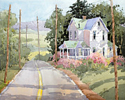 Farm Fields Paintings - Laurel Mountain Highlands Farm by Joyce Hicks by Joyce Hicks