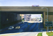 Highway Painting Posters - Laurel Street Bridge San Diego Poster by Mary Helmreich