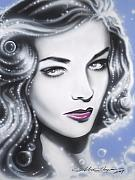 Pop Stars Painting Originals - Lauren Bacall by Alicia Hayes