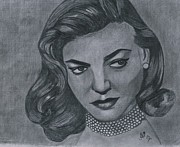 Featured Drawings - Lauren Bacall by Bobby Dar