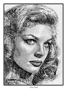 Closeups Drawings - Lauren Bacall by J McCombie