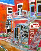 Store Fronts Paintings - Laurier Balconies by Michael Litvack