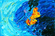 Pele Paintings - Lava Meets the Sea by Linda S Watson