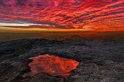 Amazing Sunset Digital Art Framed Prints - Lava Pool on Curbar Edge Framed Print by Martin Hollingworth