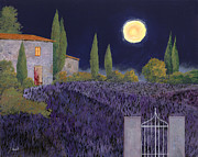 Moon Painting Prints - Lavanda Di Notte Print by Guido Borelli