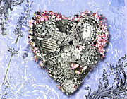 Jewelry Mixed Media Prints - Lavander Heart of Jewels Print by Anahi DeCanio