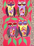 Lavander Paintings - lavander Yellow Owls  by Kerri Ambrosino GALLERY