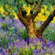 Rural Landscapes Mixed Media Metal Prints - Lavender and olive tree Metal Print by Dragica  Micki Fortuna