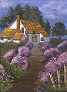 Barbed Wire Fences Painting Prints - Lavender Cottage Print by Jamie Frier